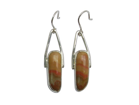 Crazy Lace Agate and Sterling Silver Earrings, eczld3306