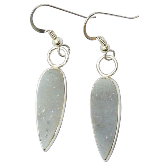 Druzy Agate and Sterling Silver Dangle Earrings  edrzf3171