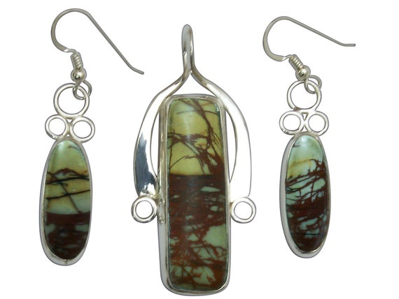 Cherry Creek Jasper and Sterling Silver Pendant and Earring Set  scckj3314