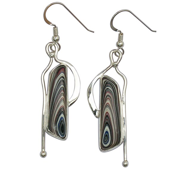 Fordite and Sterling Silver Dangle Earrings, Hand Crafted One of a Kind  efrdf3009
