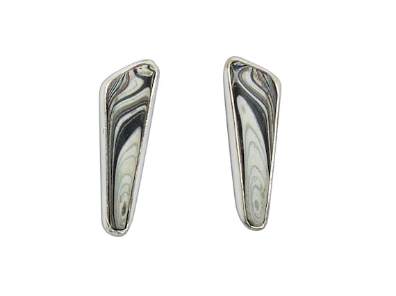 Fordite and Sterling Silver Post or Stud Earrings, Hand Crafted One of a Kind  efrde3261