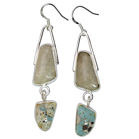 Petoskey Stone & Leland Bluestone dangle earrings set in Sterling Silver  epklbf3201