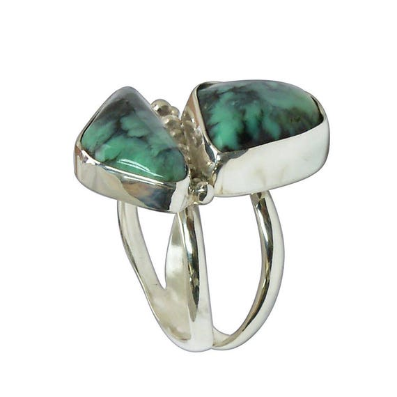 Damele Turquoise and Sterling Silver Two Stone RIng, Size 7-3/4  r675turh2918