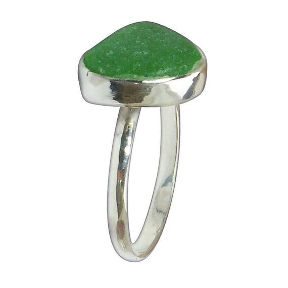 Green Sea Glass and Sterling Silver Ring, Size 7  r7sglc3073