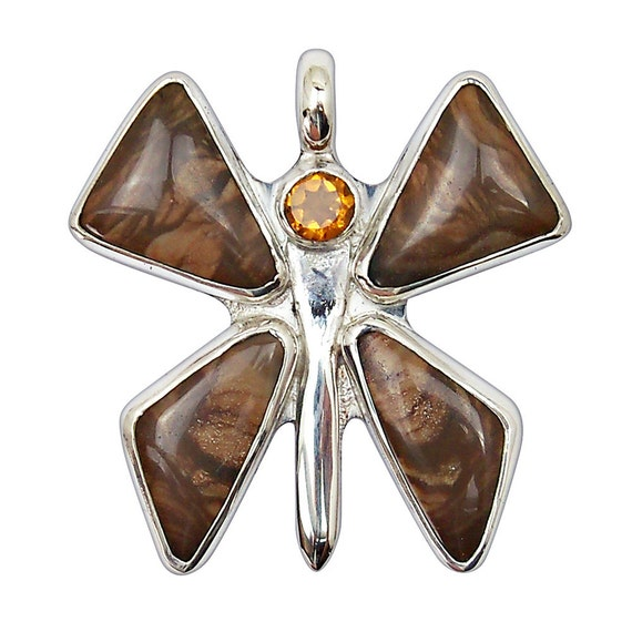 Butterfly Jewelry, Deschutes Jasper, Citrine and Sterling Silver Butterfly Pendant, pdshj2577