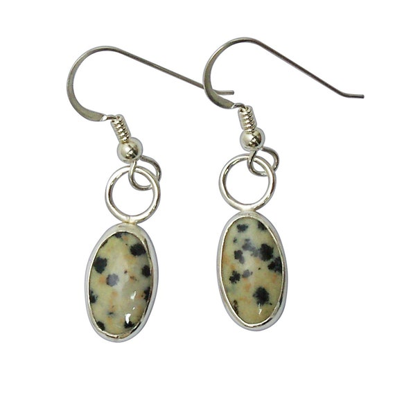 Dalmatian Jasper Earrings Set in Sterling Silver  edalc3188