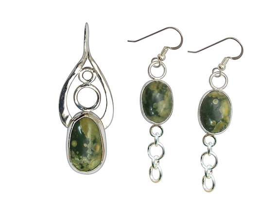 Rainforest Jasper and Sterling Silver Pendant and Earring Set  prfjf3282