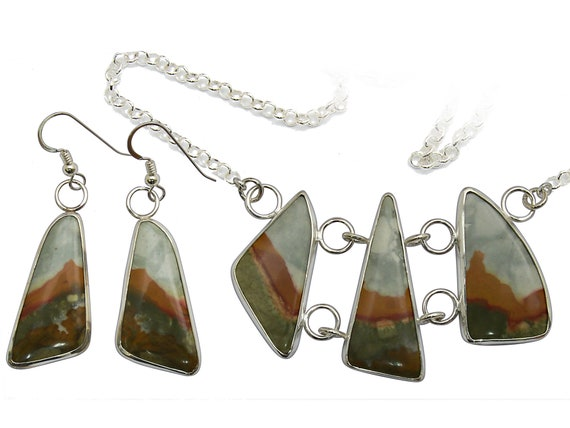 Wildhorse Picture Jasper and Sterling Silver Necklace and Earring Set  spjj3303