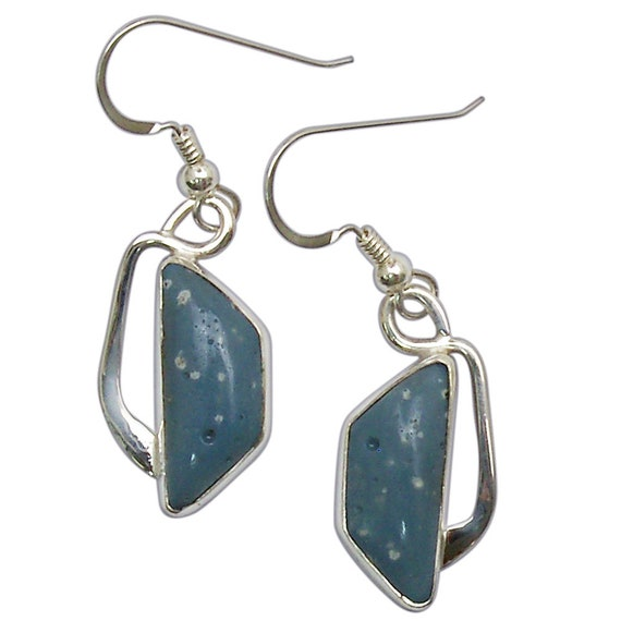 Leland Bluestone and Sterling Silver Dangle Earrings, Hand Crafted One of a Kind  elbse3014