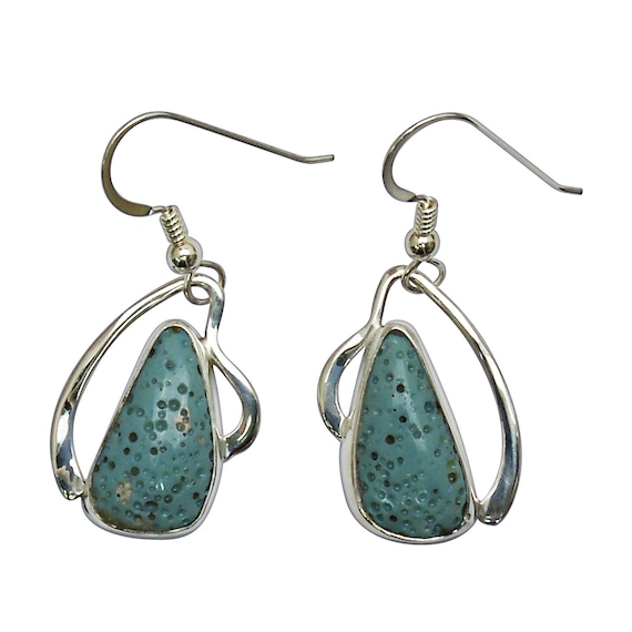 Leland Bluestone and Sterling Silver Dangle Earrings, Hand Crafted One of a Kind  elbse3144