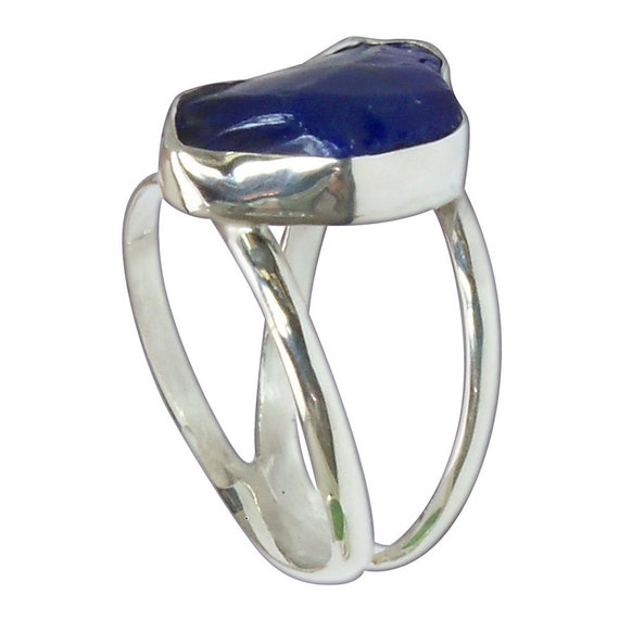 Dark Blue Beach Glass and Sterling Silver Ring, Size 7-3/8  r7375bgld3086
