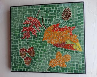 Mosaic Fall Collage Fall Leaves Pine Cone, Acorns Colorful Fall Decor, Home Decor