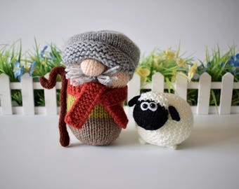 Farmer Drabble and Sheep toy knitting patterns
