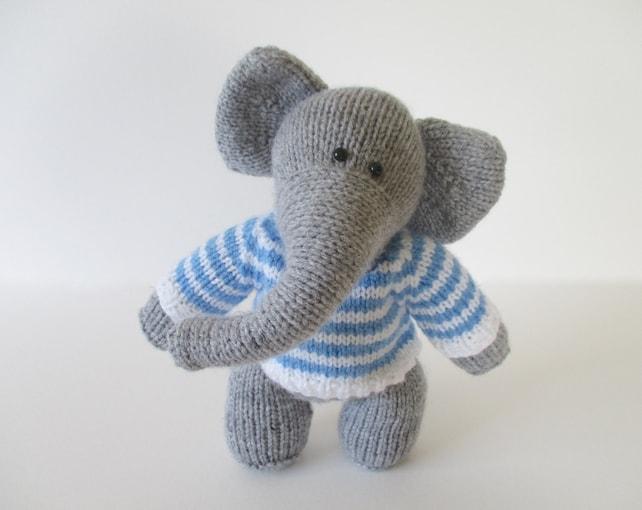 Wellington The Elephant Toy Knitting Pattern Etsy