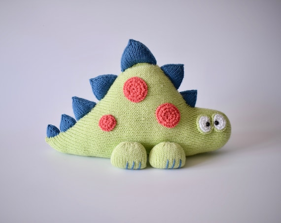 Clarence the Dinosaur toy cushion knitting pattern