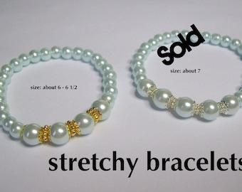 LAST ONE - Light Blue Pearl Bracelet on stretchy cord  .... Faux Pearl Bracelet