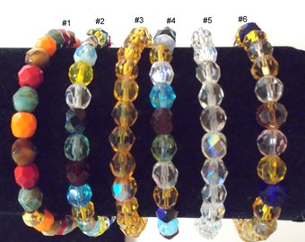 Large to X-Large Fire Polished Faceted Czech glass bracelets on stretchy cord ...  will fit Large to X-Large wrist ... item #l32b-35