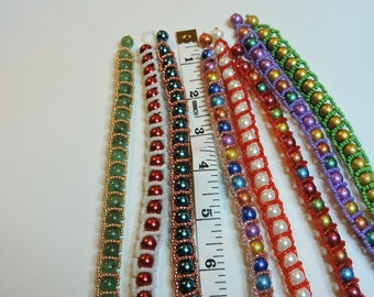 Beaded Bracelets with built in clasp ...  8mm Round Glass beads and Small Seed beads