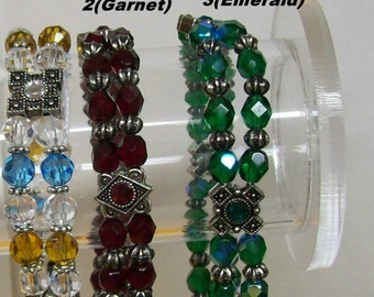 Multi Strand Faceted Gems Bracelet ... Emerald or Turquoise-Amber Topaz ... Discounted international shipping fees