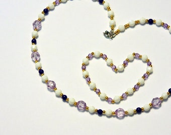 Youth Necklace with Bracelet ... For Your Little Gir ... Purple and White ...  Acrylic Beads