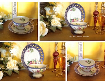 Vintage Cup and Saucer, Japan,  glossy purple edge on saucer ... very nice