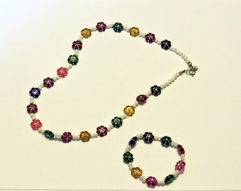 Youth Necklace with Bracelet ... For Your Little Gir ... Flower Beads, Acrylic Beads