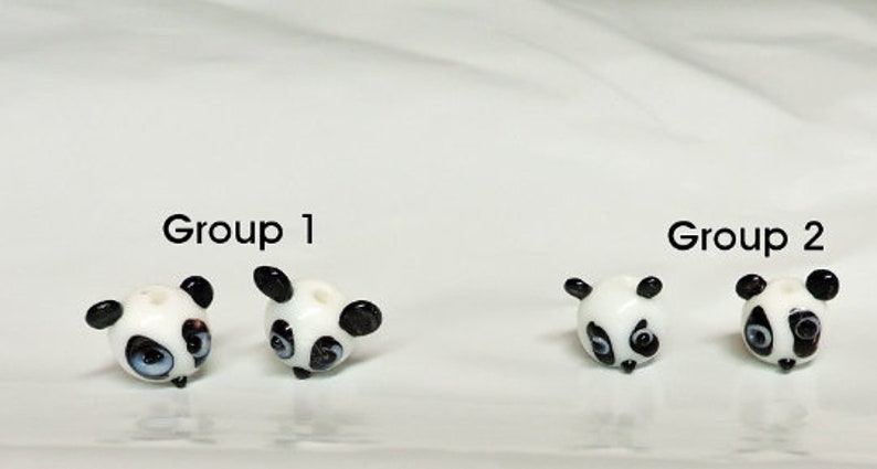 Panda Face Animal Beads Panda Face Animal Beads OR Take All 4 Panda Faces Your choice of Group 1 or Group 2 .. Glass Bead ..