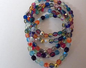 Lovely Bracelets on stretchy cord ... Fire Polished Faceted Czech glass ... small, medium or large  ... item #26b30b-710
