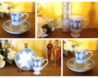 Vintage Avon 1984 Vintage Cup and Saucer, Blue and White