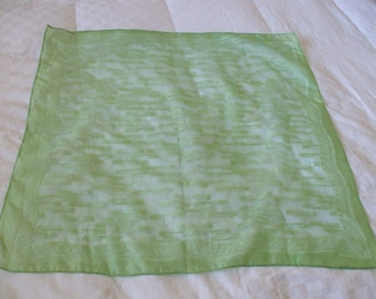 60s Vintage Sheer Lime Green Scarf,  Square,  Hand Rolled Hem, 26 x 26 square