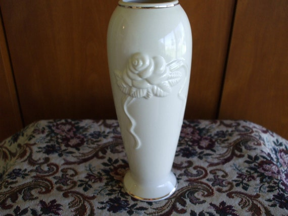 Lenox Bud Vase Embossed Roses And Gold Trim Etsy