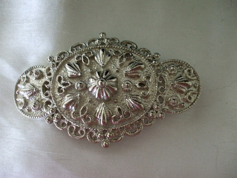 Gifts for her Mimi Di N Signed Silvertone Belt Buckle Vintage Jewelry Wedding 1985