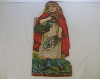 Little Flower Girl - Old Fashioned Style Dolly Book by Merrimack Publishing  Co. 1970's - 6 Paper Dolls - Short Stories  - Vintage - Gifts