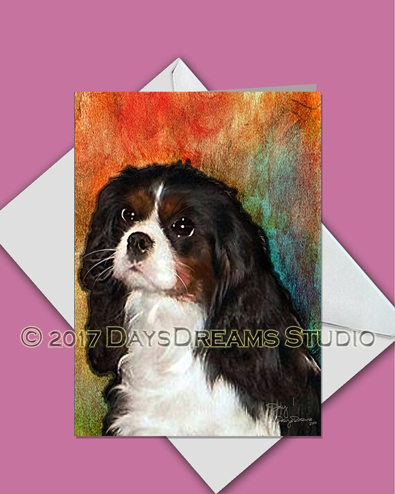Sepia Greetings Card Cavalier King Charles Spaniel