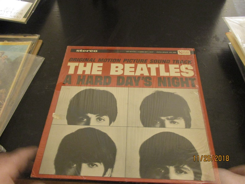 711edc0142291 On Sale - Rare Beatles NM vinyl - A Hard Days Night - Vintage cover still  in original shrink wrap and in Mint Condition