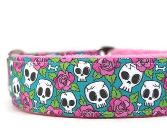 Pink Roses and Skulls Dog Collar on Blue - Custom Dog Collar - Martingale Dog Collar - Pet Accessories