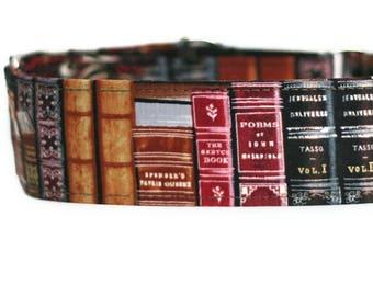 Old Books Dog Collar / Custom Dog Collar / Martingale Dog Collar