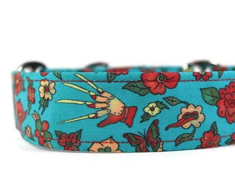 Freddy and Flowers Dog Collar - Custom Dog Collar -  Pet Accessories - Martingale