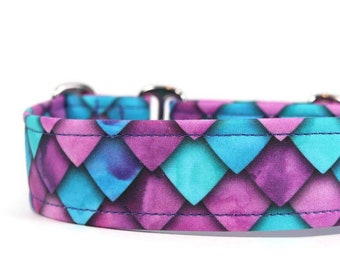 Purple, Pink, and Blue Dragon Scales Dog Collar - Custom Dog Collar - Breakaway Cat Collar