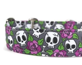 Purple Roses and Skulls Dog Collar - Custom Dog Collar - Martingale Dog Collar - Pet Accessories - Designer Dog Collar -