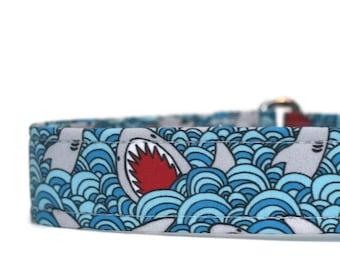 Sharks Dog Collar - Custom Dog Collar - Martingale - Pet Accessories - Designer Dog Collar - Asian Dog Collar
