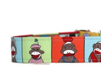 Sock Monkeys Dog Collar - Custom Dog Collar - Martingale - Pet Accessories - Designer Dog Collar - Cat Collar