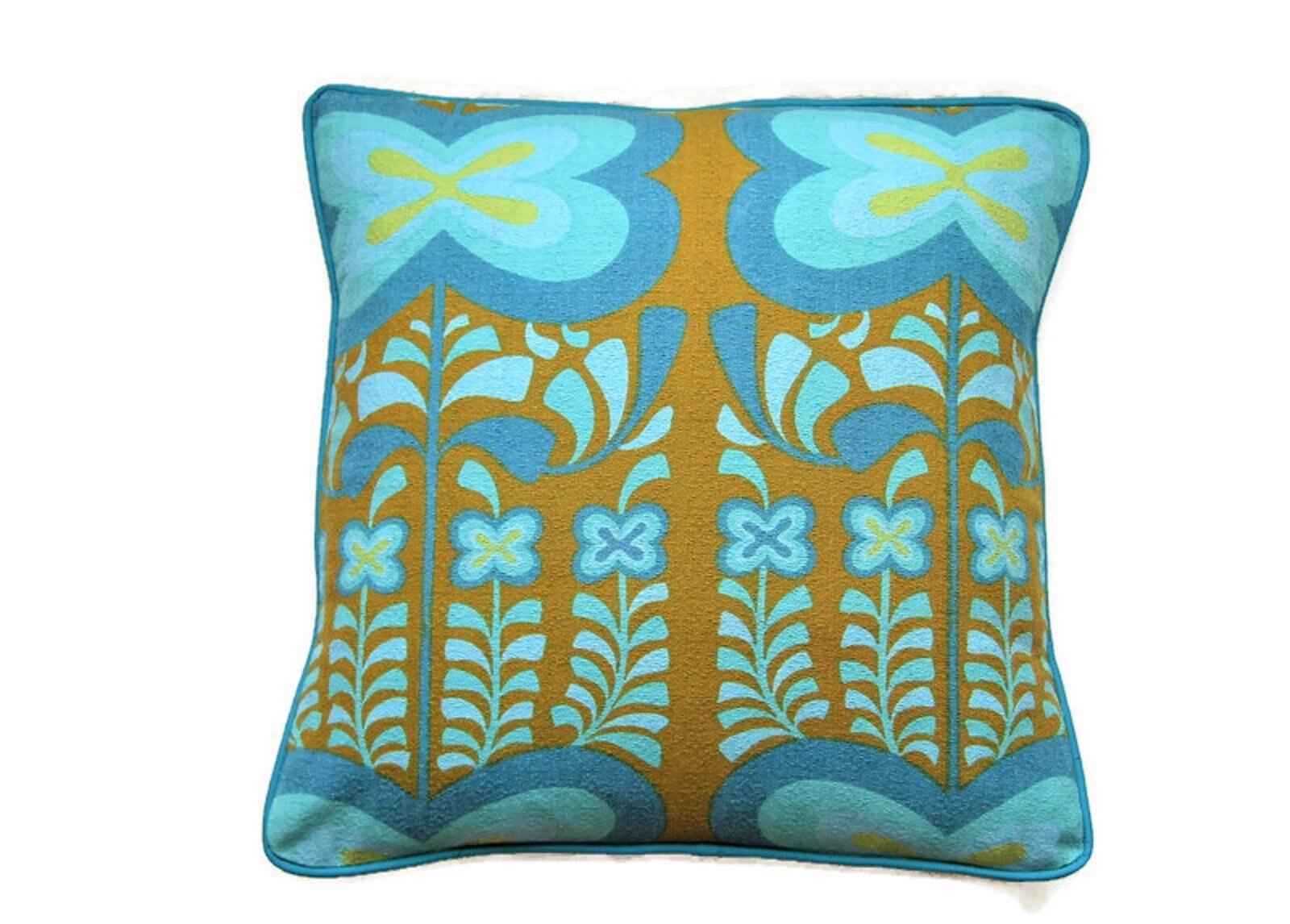 Heals Jyoti Bhomik Indian Summer, blue and orange 21s cotton barkcloth,  cushion cover, throw pillowcover, homeware decor.