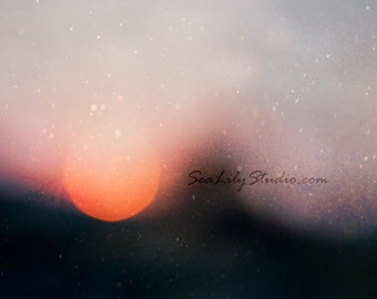 Summer Sunset : abstract photography bokeh blur sun sunset skyline dusk black orange gray home decor 8x12 12x18 16x24 20x30 24x36