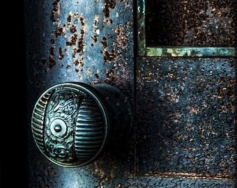 Secret Door : cemetery photography blue door midnight gothic relic dark art nouveau teal blue green halloween 8x12 12x18 16x24 20x30 24x36