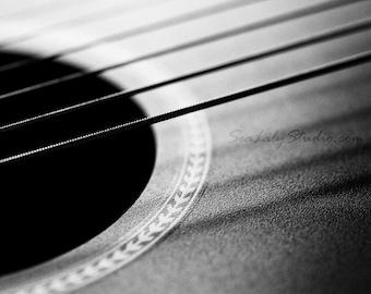 Acoustic Guitar : guitar photo black white macro photography monochrome surreal home decor musical instrument 8x10 11x14 16x20 20x24 24x30