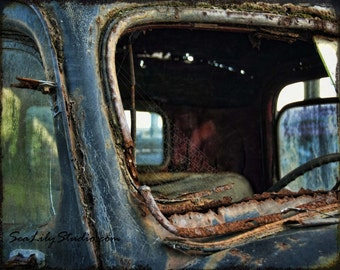 Cracked Rearview : old truck photography relic abandoned truck photo vintage ford rust blue teal home decor 8x10 11x14 16x20 20x24 24x30
