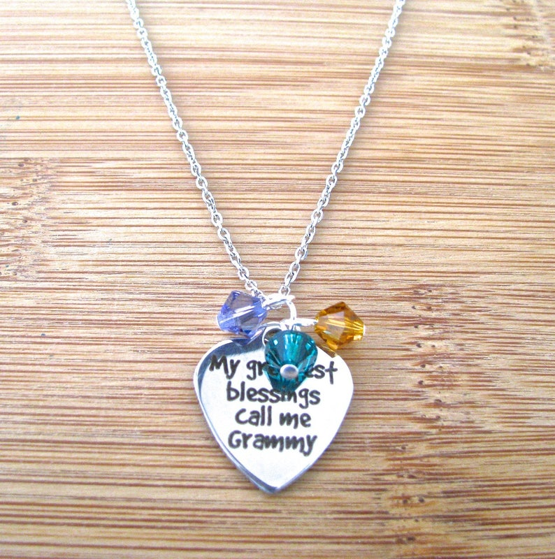 Grammy Blessings Birthstone Crystal Cluster Necklace Personalized Mother/'s Day Necklace