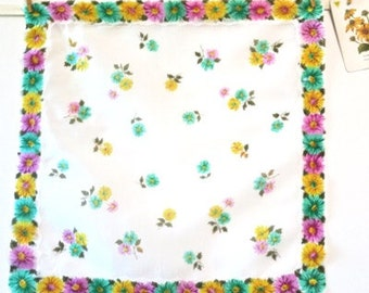 Vintage square Cotton Voile Handkerchief with Daisy Print