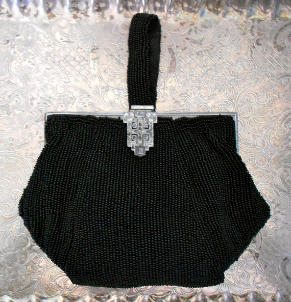 1930's Black Micro Beaded Purse